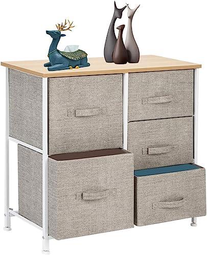 5 Drawers Dresser Storage Chest Sturdy Steel Frame Wood Top Organizer Unit
