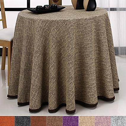 ae03313f7 Falda para Mesa Camilla Redonda Modelo Comino, Color Marrón-Beige, Medida  90cm de diámetro