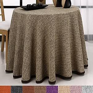 Falda para Mesa Camilla Redonda Modelo Comino, Color Beige-Marrón ...