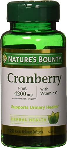 Nature s Bounty Cranberry Fruit 4200 mg, Plus Vitamin C, 120 Softgels Pack of 2