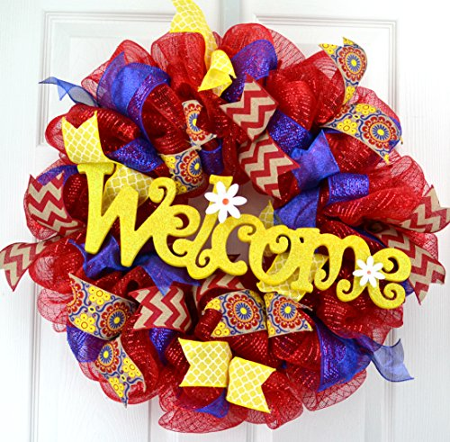 Everyday year round welcome deco mesh wreath; red royal blue burlap yellow