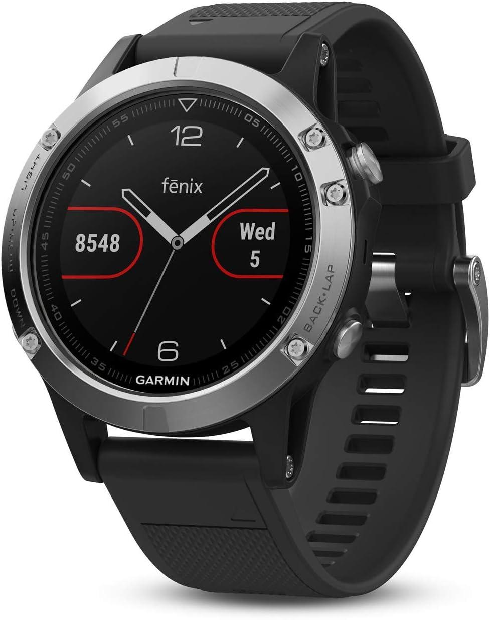 Garmin Fenix 5 Plata con Banda Negra 47 mm Premium Multisport GPS y GLONASS (Reacondicionado)