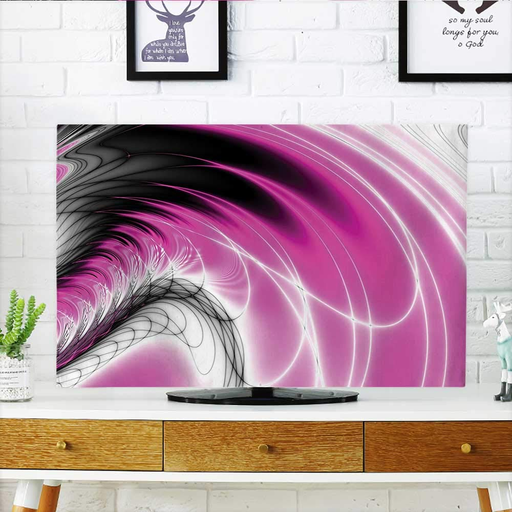 Auraisehome TV dust Cover Dynamic Energy Flows Inspired Artisan Fantasy Shapes Computer Print Magenta Black TV dust Cover W36 x H60 INCH/TV 65''