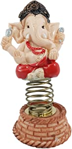 Crocon Red Color Ganesha Wobbling Figurine Jumping Spring Statue for Peace Good Luck Positive Energy Home Car Decor Collectible Decorative Sculpture Gift Piece Unique Design