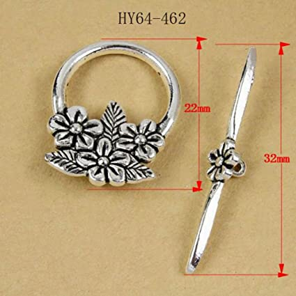 10 Sets Silver Tone Bracelet Clasps Lily Flower Toggle Findings Jewelry Making DIY Crafts