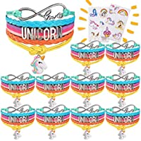Pawliss Unicorn Charm Bracelets Rainbow Wristbands Teen Girls Jewelry, 10 Pack Unicornio Kids Birthday Party Favors Supplies for Goodie Bags with 2 Tattoos