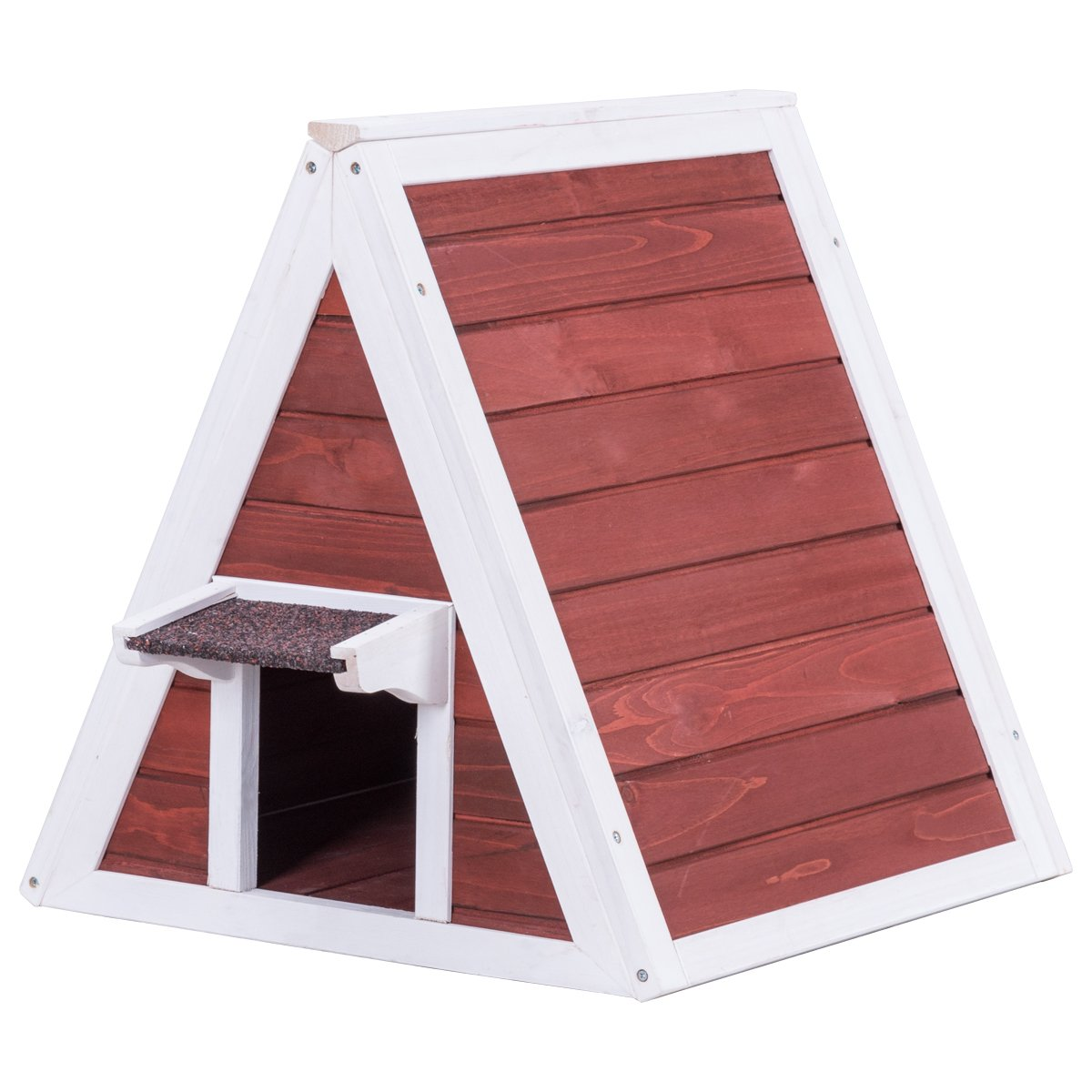 TANGKULA Cat House Wood Indoor Outdoor Weatherproof Pet Kitten Condo Shelter, Cat House with Eave