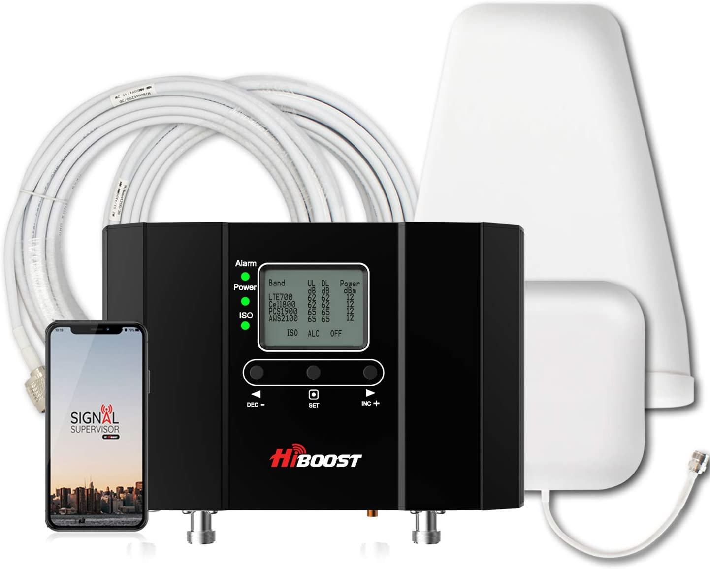 HiBoost Cell Phone Signal Booster Signal Extender Cellular Booster Signal Amplifier for Home Office, Supports up to 10,000 SQ. FT,Compatible AT&T, T-Mobile, Verizon, Sprint -10K Smart Link