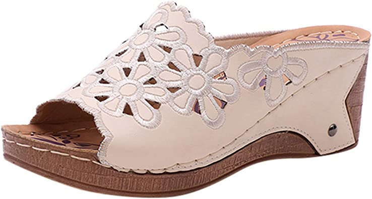 WINJIN Chaussures femme Été Sandales Compensées Femmes Tongs Femmes Chaussures de Plage à Talons Hauts Mules Résille Creux