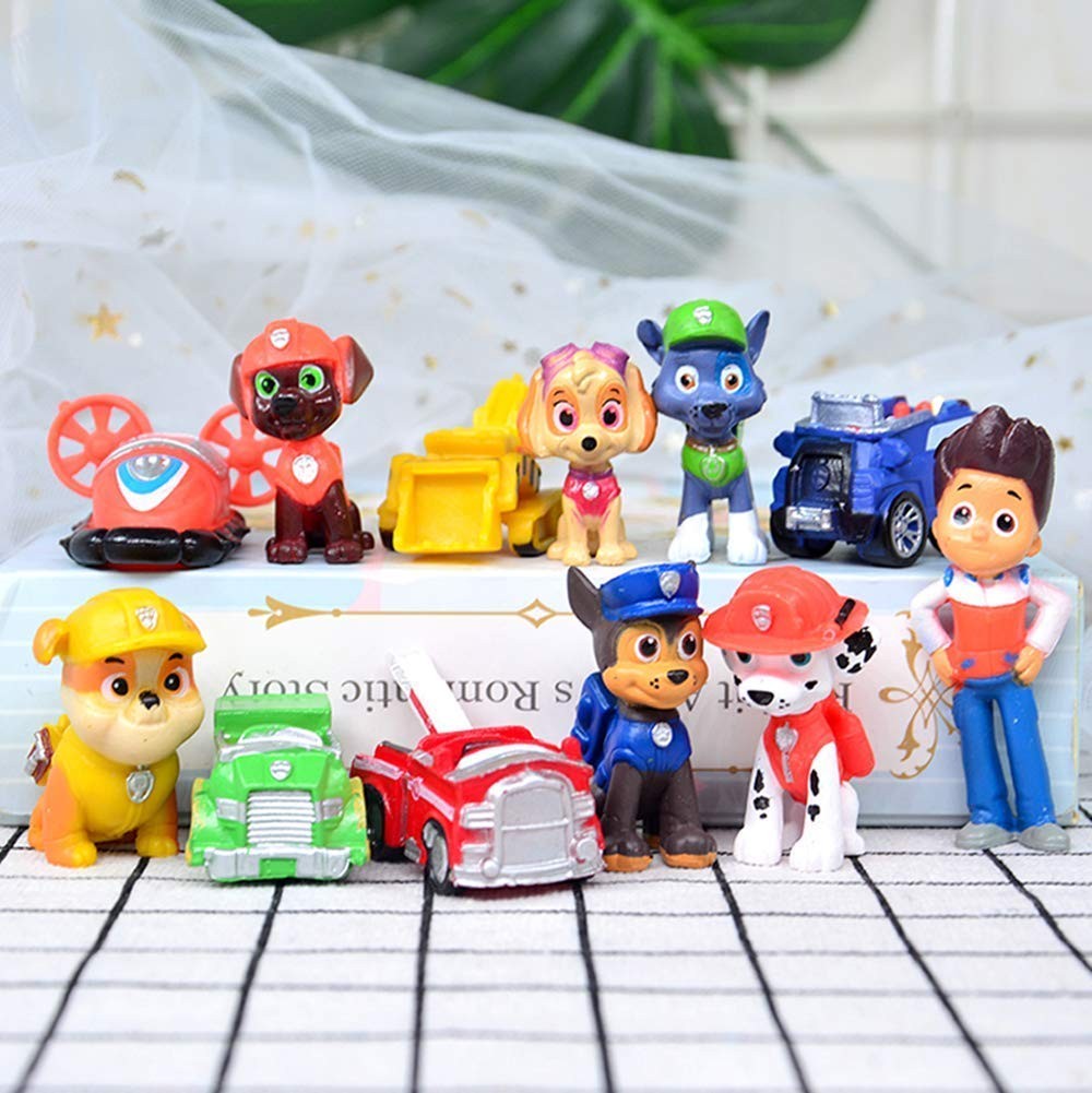 12PCS paw patrol cake ingredients, cake and cupcake decorations, paw patrol mini toys, children's birthday shower party suppli by ZCRR (Image #2)