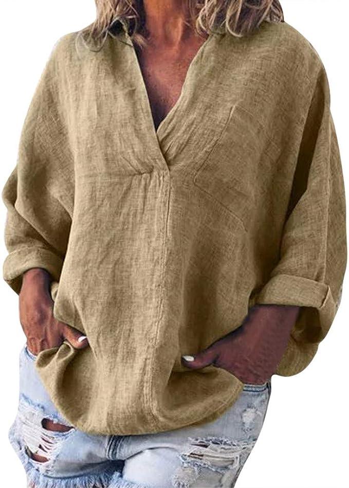 Battnot❤ Damen Bluse Leinen Elegant Grosse Grössen Langarm Solide V Ausschnitt Frühling Sommer Unregelmäßige Lose Vintage Casual T Shirt, Frauen Tops