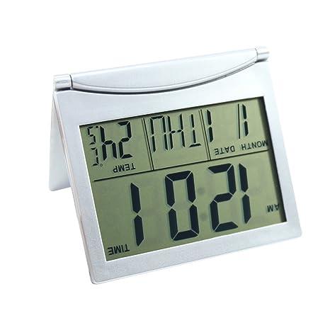 Fernando Feliz Reloj de Escritorio Digital LCD de Viaje con Termómetro Alarma de Calendario y Cubierta