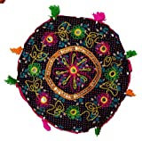 Indian 15'' Round Cotton Stool Pouf Ethnic Chair Ottoman Decor Furniture Retro