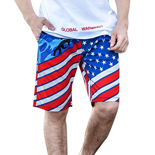 ce5ac5673af Cuekondy Men s 2019 New Fashion American Flag Print Swim Trunks Summer Elastic  Waist Surf Beach Sport