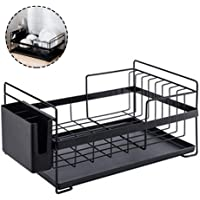 Hamkaw Dish Drying Rack Large Drainer, Over the Sink Dish Rack, Kitchen Antimicrobial Dish Drainer Drying Rack with Drip Tray -Wrought Iron Hollow Storage Basket