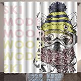 Nalahome vector poster with close up portrait of beagle dog ski mode mood puppy wearing beanie scarf and Dining Room Kids Youth Room Window Drapes 84x108 inches