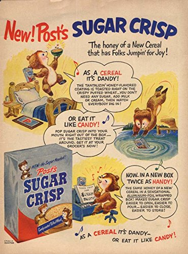 New! Post's Sugar Crisp cereal Dandy! Candy! Handy! Ad 1951 L