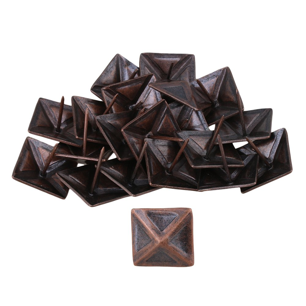 BQLZR Red Bronze Antique Square Upholstery Nails Tack Pyramid Studs Vintage Furniture 30x30mm Pack of 20