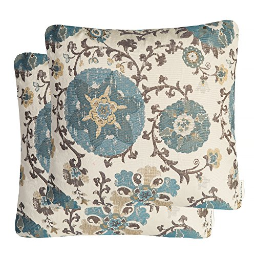 Mika Home Pack of 2 Jacquard Circle Floral Throw Pillow Shell Vintage Cushion Cover for 20X20 Inserts Cream Blue
