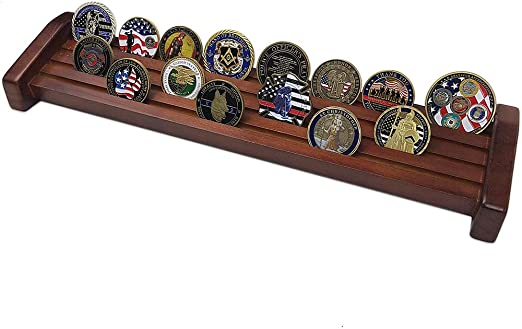 Amazing Military Challenge Coin Holder Holds 30-36 Coins 5 Rows MADE IN THE USA! Military Coin Display Stand SOLID Walnut 5 Row Challenge Coin Holder