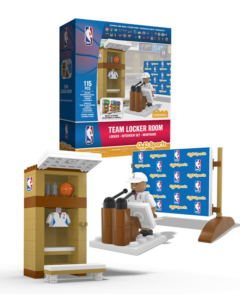 NBA Locker Room /& PR Area OYO Sports with all 30 Team Stickers /& Minifigure OYO Sports Inc