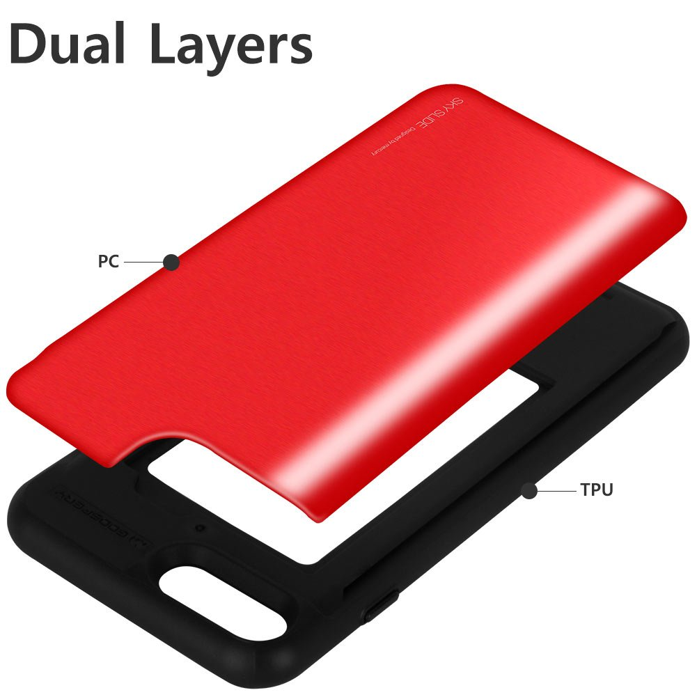 Iphone 8 Plus Case Goospery Sliding Card Holder 7 Sky Slide Bumper Red Protective Dual Layer Tpu Pc Cover With Slot Wallet For Apple