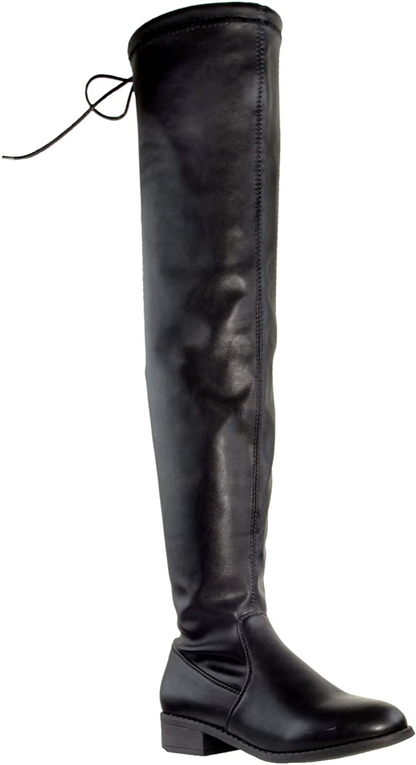 Amazon.com | Generation Y Womens Knee High Boots Lace Up Block Heel Over  The Knee Riding Boots GY-WB-CAT | Knee-High