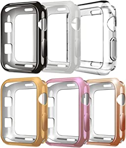 [6Pack] Compatible with Apple Watch Case 38mm,TPU Protective Case Scratch-Resistant Bumper Compatible for Apple Watch Series 3 Series 2 Series 1 Edition Sport (6Pack, 38mm)