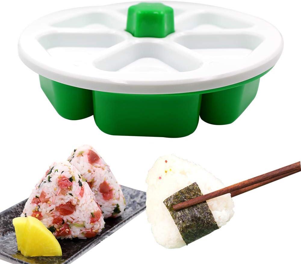 DIY Triangle Sushi Mold, Food Grade BPA free Onigiri Mold Onigiri Rice Ball Maker, Make Up To 6 Sushi Rice Balls at Once Easily and Quickly