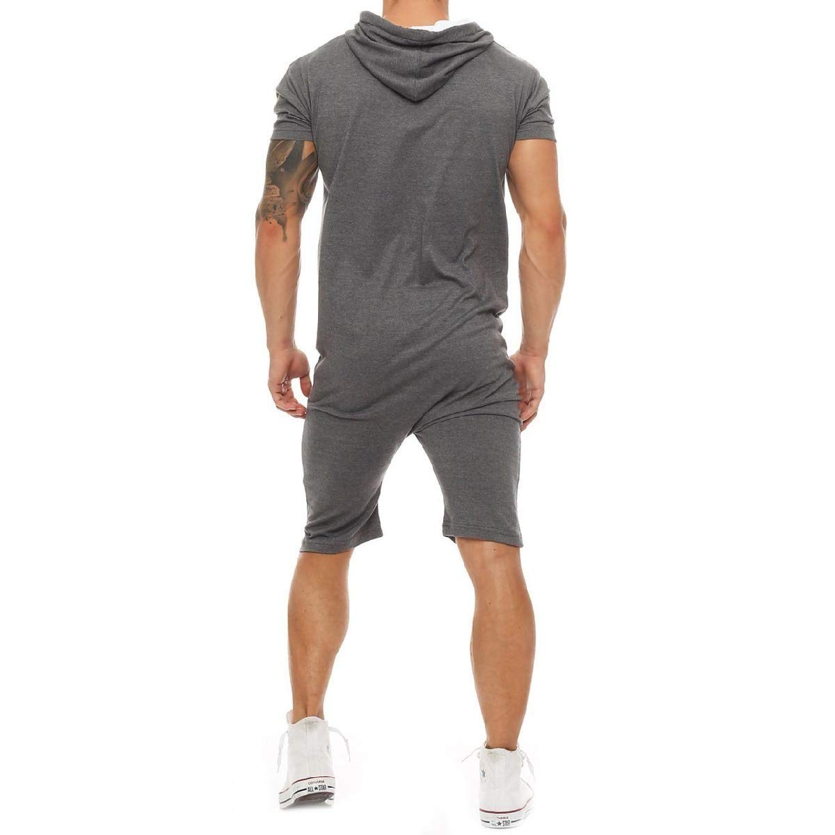 HEFASDM Mens Athletic Jumpsuit Hood Comfy Overall Zipper Half Pants Shorts