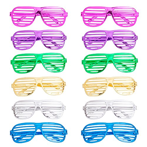 12Pcs Party Eyeglasses, Kids Party Glasses Color Party Sunglasses Slotted Shutter Glasses Photo Props Toy Party Favors for Kids Adults (Round - Heart Shutter Glasses