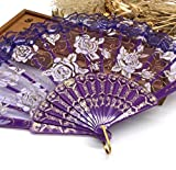 Purple Luxury Rose Pattern Glitter Floral Lace Hand Fan Party Dance Folding Hand Fan Dance Party Kraft Gifts
