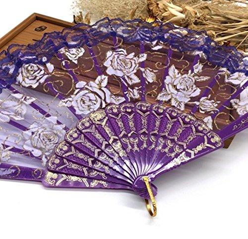 Purple Luxury Rose Pattern Glitter Floral Lace Hand Fan Party Dance Folding Hand Fan Dance Party Kraft Gifts