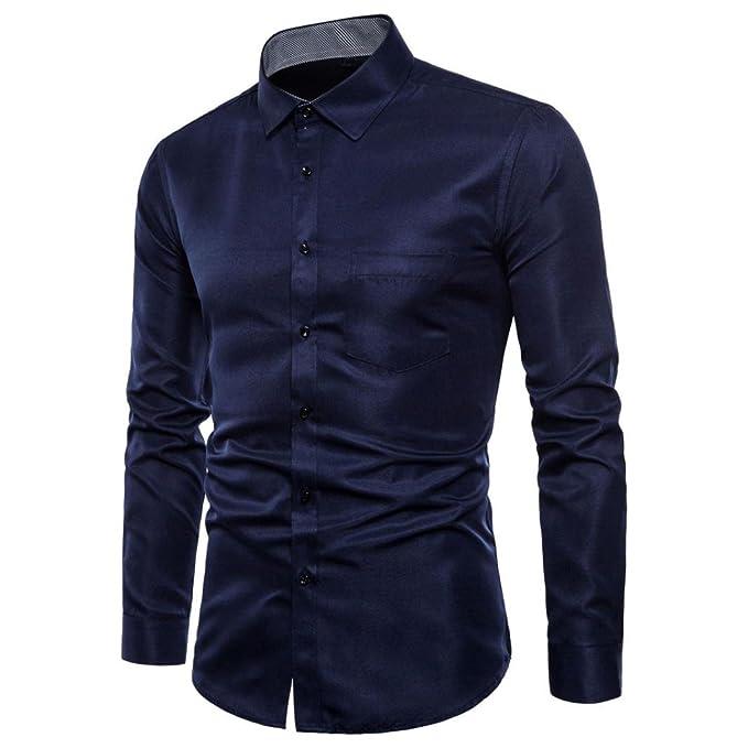 Sannysis Camisa Hombre Blusa Casual de Manga Larga Top Cuello Alto de Color Sólido Blusas Suelta Camisas de Trabajo Suave Cómodo Transpirable Camisas de ...