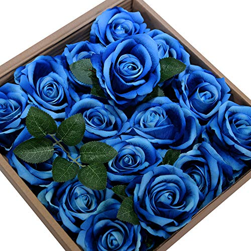 ETERNAL ANGEL Artificial Flowers Blue Fake Roses Real Looking Flannelette Flowers with Stem for DIY Arrangements Wedding Bouquets Centerpieces Bridal Shower Party Home Decorations- 16 ()