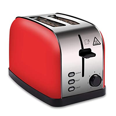 COSSCCI Red Toaster 2 Slice Stainless Steel Toa...