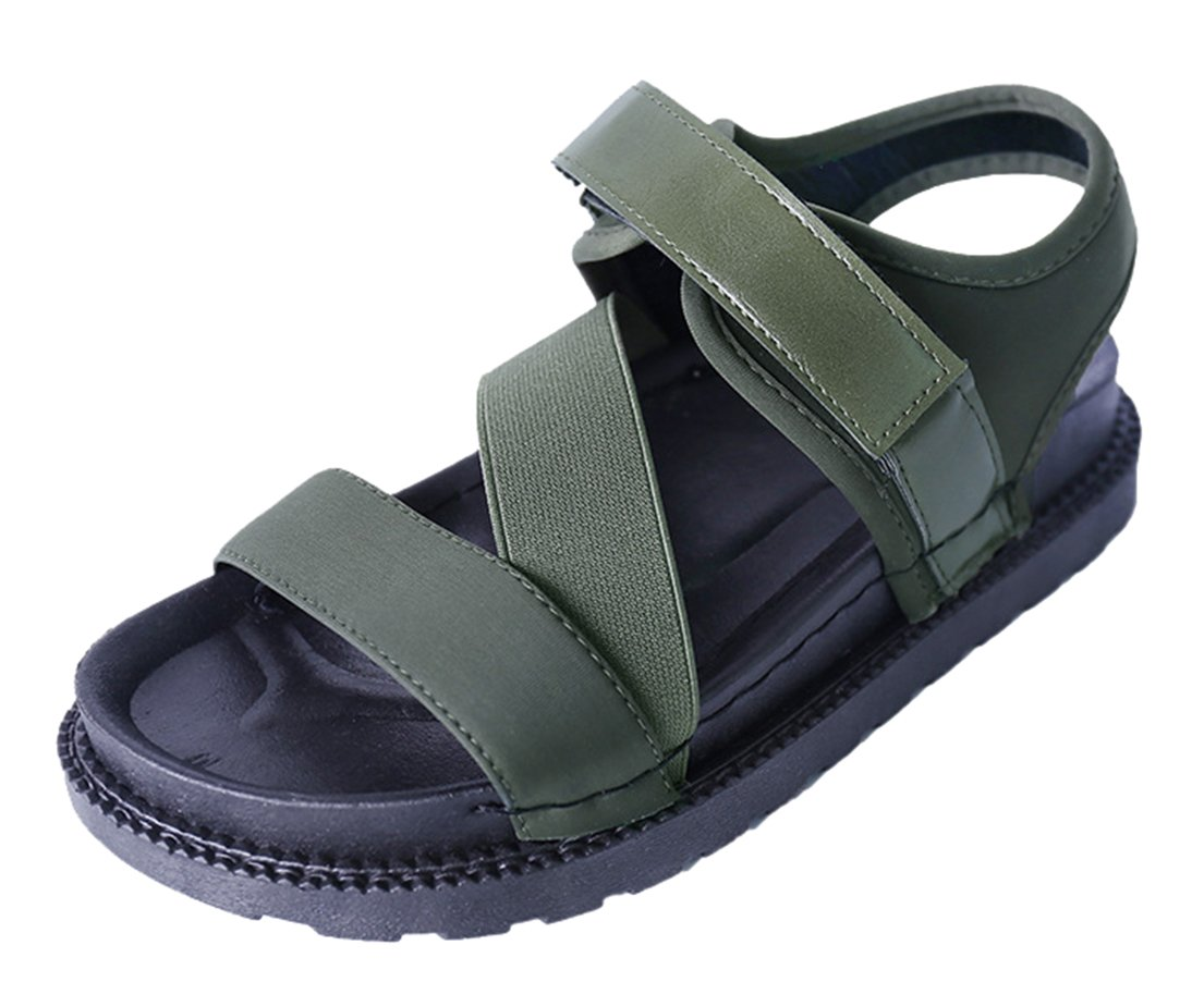 FEMAROLY Youth Girls Fashion Roman Sandals Student Summer Velcro Sandal for Women and Girls Green 7.5M