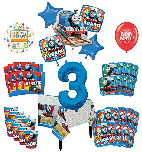 (Mayflower Products Thomas The Train Tank Engine 3rd Birthday Party Supplies 16 Guest Decoration Kit and Balloon)