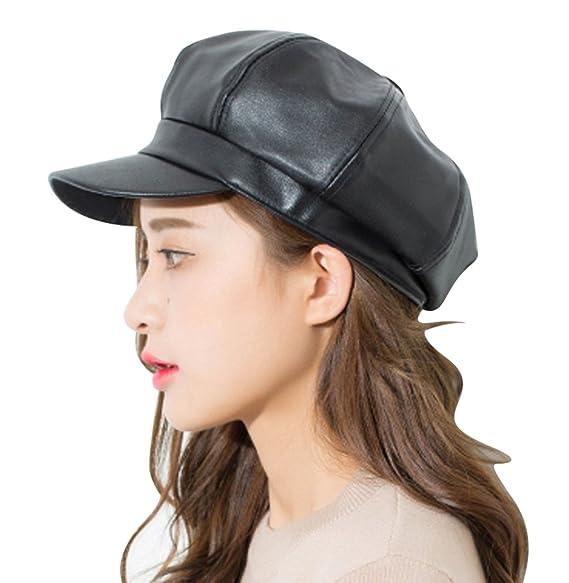 e1146db45 Clecibor Faux Leather Octagonal Cap Solid Newsboy Hat Unisex Painter Cap PU  Duckbill Hat
