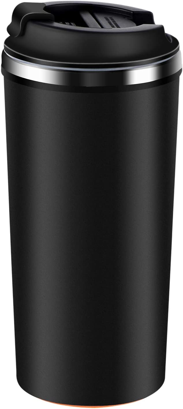 ETROBOT Coffee Tumbler, Stainless Steel Coffee Cup Wall Vacuum Reusable Office Coffee Mug That Won't Fall Over Great for Home, Office, Outdoor Works (Black)