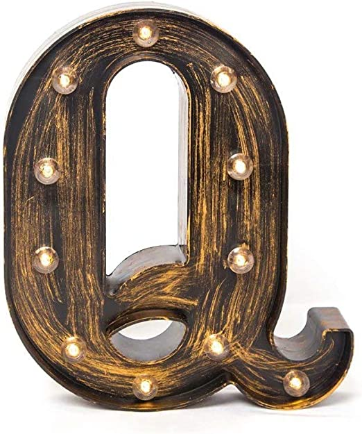 Glintee LED Marquee Letter Lights Vintage Style Light Up 26 Alphabet Letter Signs for Wedding Birthday Party Christmas Home Bar Cafe Initials Decor(Q)