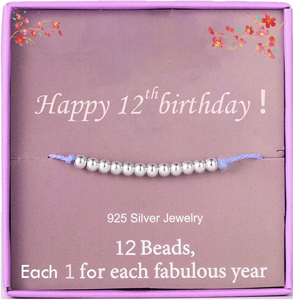 Amazon Com 12th Birthday Gifts Bracelet Gifts For Girls Sterling Silver Beads Bracelet For 12 Years Old Girl Jewelry Gifts For Her Little Girl Gift Idea Clothing