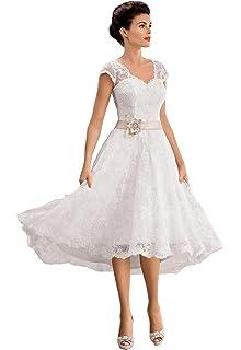 1900ae49f6ac Irenwedding Women's V Neck Capped Applique Lace Beaded Sash Short Beach  Wedding Dress