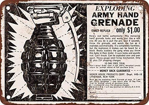 GHSX Exploding Ejército Granada de Mano juguete, diseño clásico de reproducción Metal tin Sign 20,3 x 30,5 cm