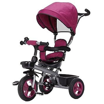 CGN- Bicicleta para niños, Triciclo para niños Carrito para bebés Carrito de bebé Bicicleta para niños pequeños suave (Color : Purple) : Amazon.es: ...