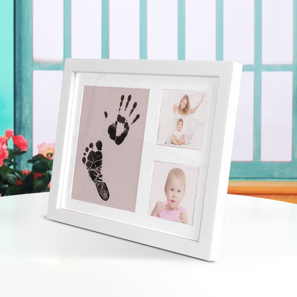 Baby Handprint and Footprint Photo Frame Kit by TopSuccess Without Ink-Touch,Safe and Non-Toxic Ink Print Kit for Baby Babyprints Inkpad Best for Newborn Baby Gifts GM10 Black inkpad Black