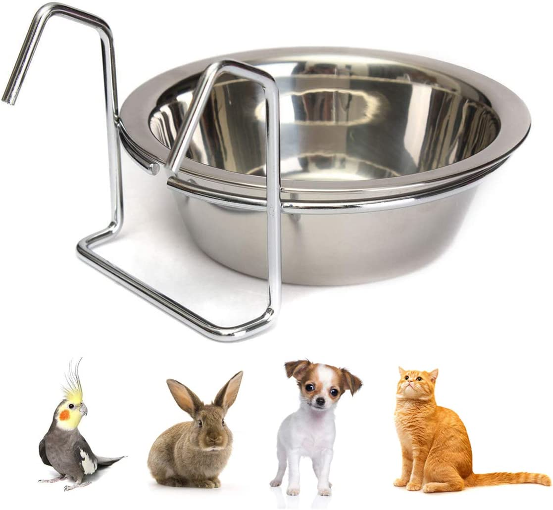 Wontee Pet Bowl Stainless Steel Hanging Food Water Cup Feeder with Hook Detachable for Dogs Cats Kennel, Bird Parrot Rabbit Cage (M)