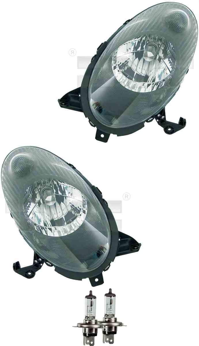 Scheinwerfer Set rechts /& links Schwarz H4 f/ür Micra III K12 inkl OSRAM Lampen mit Lampentr/äger ohne Stellmotor LWR
