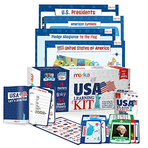 USA Learning Kit includes 4 Posters, 95 Flashcards, 58 Practice Book Exercises and 36 Reward Stickers - Learn about the US States, Presidents, Symbols, Flag and more ()