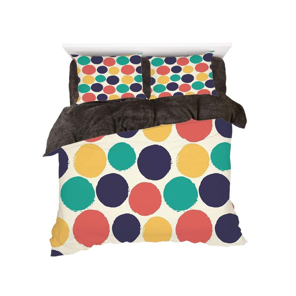 フランネル布団カバー4点セット ベッドリネン 冬休みパターン、抽象的、装飾的な正方形、様々な形状の楕円形コーナー、幾何学模様、ダークサーモンホワイト bed width 5ft(150cm) BotingFLR_hei_00858_queen 150 B07L1VTX1C カラー18 bed width 5ft(150cm)